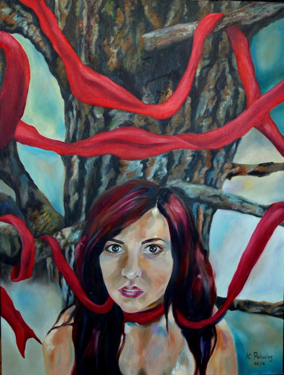 Autorretrato en rojo. Óleo sobre lienzo
